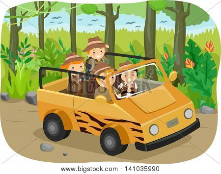 Stickman Illustration of Children on a Safari Trip
