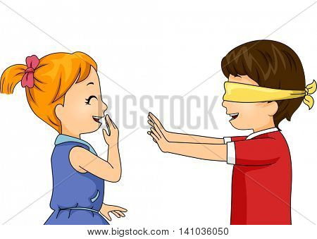 Illustration of Children Playing a Blindfold Game