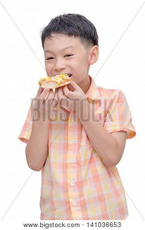 Young asian boy eating pizza over white background