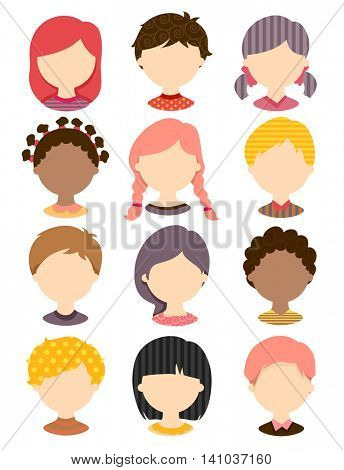 Illustration Featuring Templates of Popular Haircuts for Children