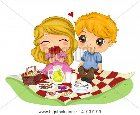 Romantic Illustration of a Kiddie Couple on a Picnic Date