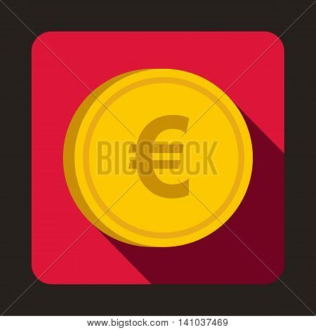 Euro coin icon in flat style with long shadow. Monetary currency symbol