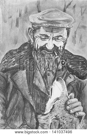 Portrait of an elderly man with a dog. Drawing on paper
