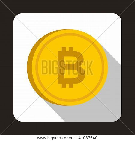 Coin bat icon in flat style with long shadow. Monetary currency symbol