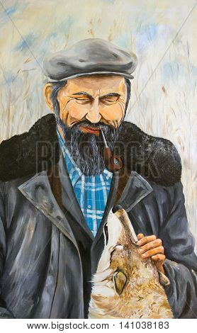 Portrait of an elderly man with a dog. Oil painting