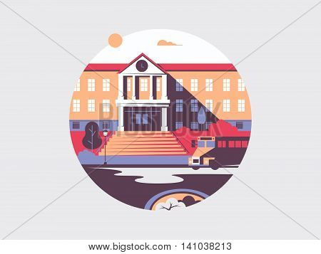 School flat building architecture. College and university for education, vector illustration