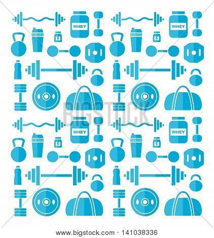 sport gym flat illustration pattern icon design