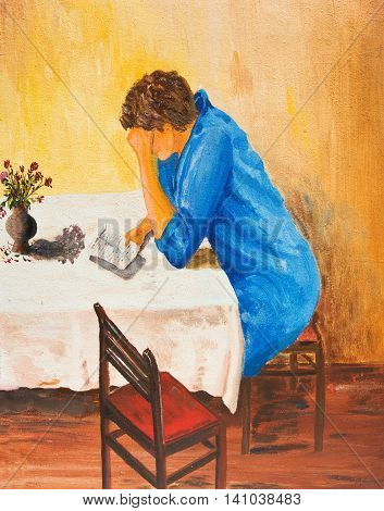 Girl reading a sad letter. Oil painting.