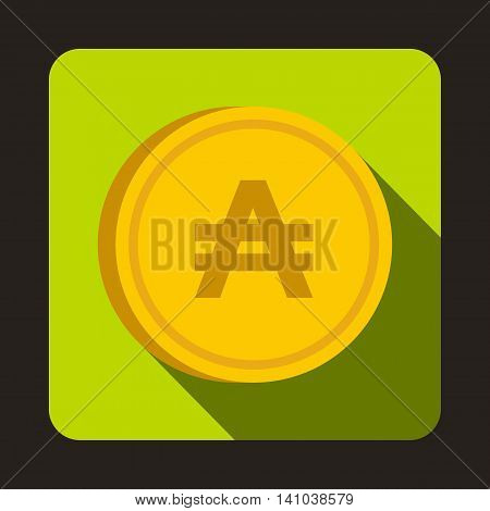 Coin austral icon in flat style with long shadow. Monetary currency symbol