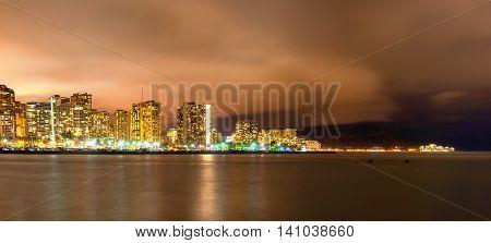 Long exposure of Waikiki and Diamond Head at night from Ala Moana Beach Park