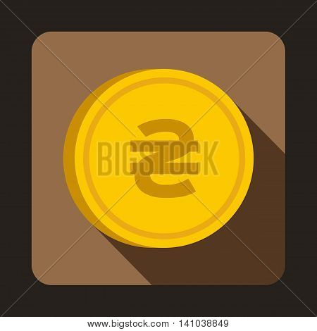 Coin hryvnia icon in flat style with long shadow. Monetary currency symbol