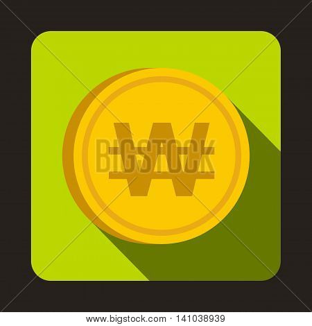 Coin won icon in flat style with long shadow. Monetary currency symbol