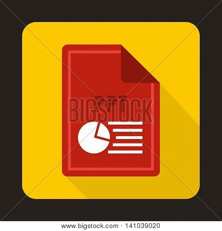 File PPT icon in flat style with long shadow. Document type symbol