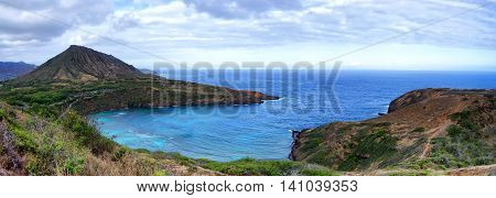 Panorama of Hanauma Bay located just outside Honolulu, Hawaii.  The bay is famous for snorkeling.