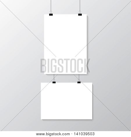 Image vector white posters hanging on binder. Grey wall with mock up empty paper blank. Layout mockup. Vertical and horizontal template sheet.