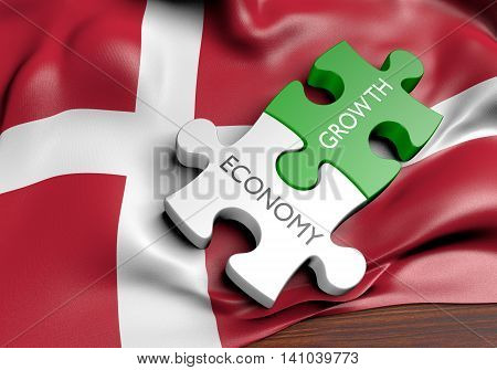 Denmark economy and financial market growth concept, 3D rendering