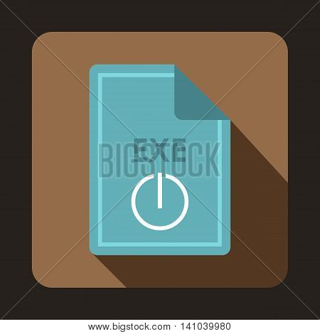 File EXE icon in flat style with long shadow. Document type symbol