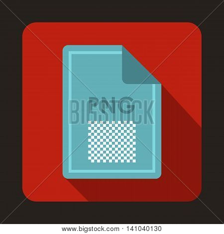 File PNG icon in flat style with long shadow. Document type symbol