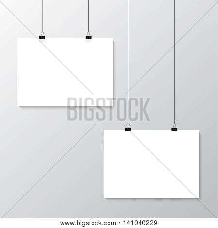 Image vector white posters hanging on binder. Grey wall with mock up empty paper blank. Layout mockup. Horizontal template sheet.