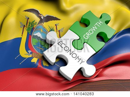 Ecuador economy and financial market growth concept, 3D rendering