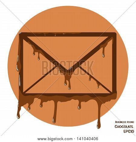 Vectoru business icon of envelope. Envelope object made from cholocate. Icon with melting chocolate effect.