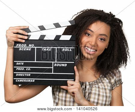 Happy Woman Standing with Clapperboard - Isolated