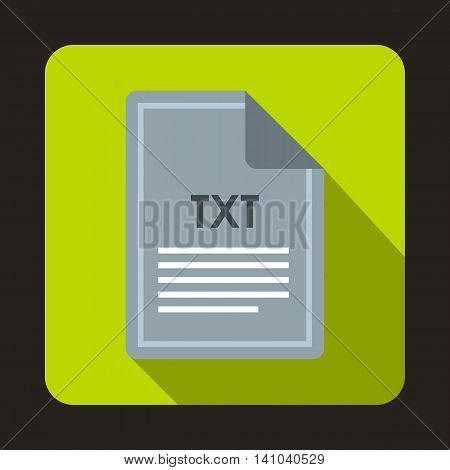 File TXT icon in flat style with long shadow. Document type symbol