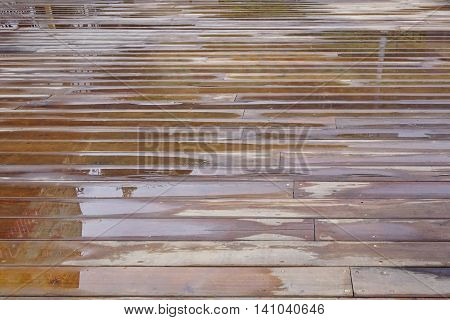 Wet Patio Flooring Background After Rain In Perspective
