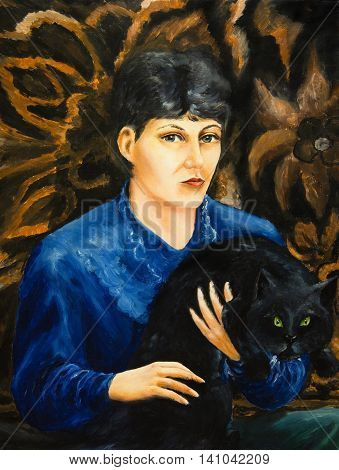 Oil painting. Portrait of a girl with a black cat