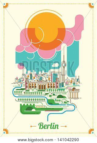 Colorful illustration of Berlin city. Vector illustration.