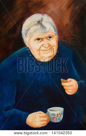 Oil painting. Portrait of an old woman with a cup and biscuits
