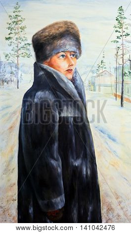 Oil painting. Portrait of a girl on the background of a winter landscape