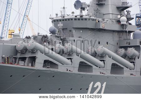 RUSSIA,SEVASTOPOL - JUNE 13, 2014: Russian guided missile cruiser