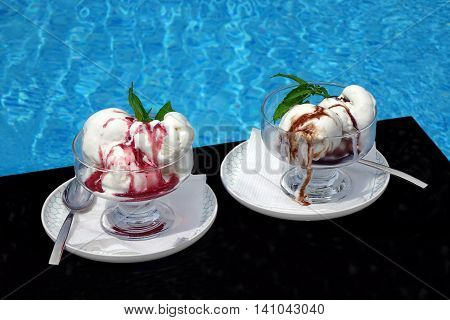 Misted Two Glass Bowl With Ice Cream Sundae Balls, Fruit And Chocolate Syrup