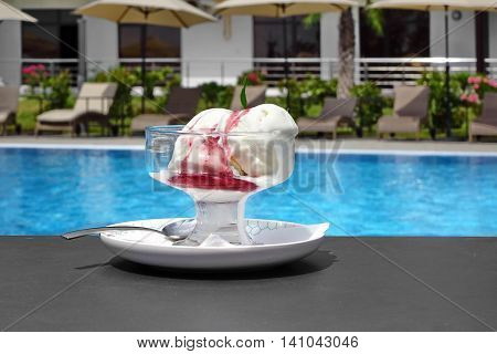Misted Glass Bowl With Ice Cream Sundae Balls And Syrup