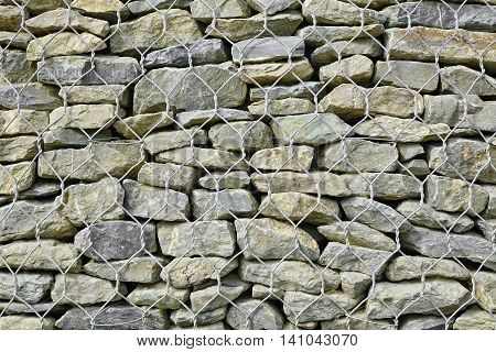 Gabion Retaining Wall Background Or Texture