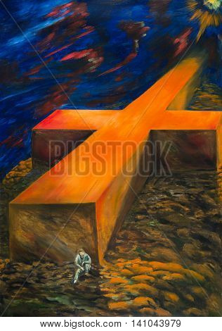 The oil painting. The heavy cross of fate