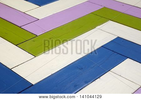 Vintage Colorful  Wood Surface With Zig Zag Pattern Background Texture