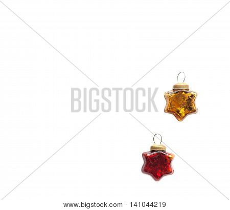Christmas and new year red and gold toys. Glassy vintage stars isolated on a white background