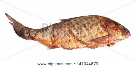 Large smoked carp isolated on white background