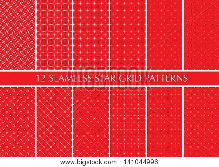 Seamless retro geometric pattern set. White stars on red background, different size.