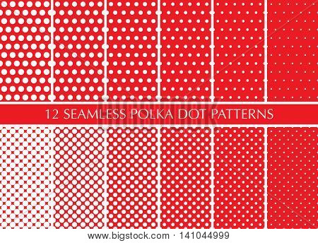 Seamless retro geometric pattern set with polka dots. White circles on red background, different size.