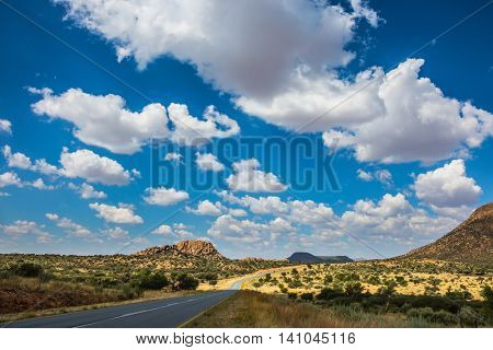 Along the road low trees and yellowed grass. Fluffy clouds over the savannah. The asphalt highway in Namibia