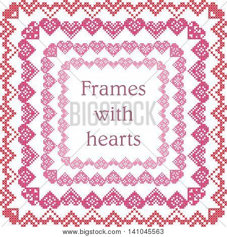 Set of frames with embroidered hearts cross-stitch