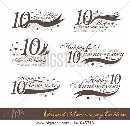 Anniversary 10th sign collection in classic style. Template of anniversary birthday and jubilee emblems with number editable and copy space on the ribbons.
