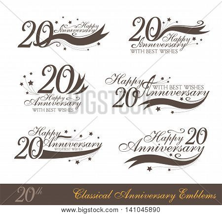 Anniversary 20th sign collection in classic style. Template of anniversary birthday and jubilee emblems with number editable and copy space on the ribbons.