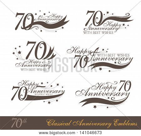 Anniversary 70th sign collection in classic style. Template of anniversary birthday and jubilee emblems with number editable and copy space on the ribbons.
