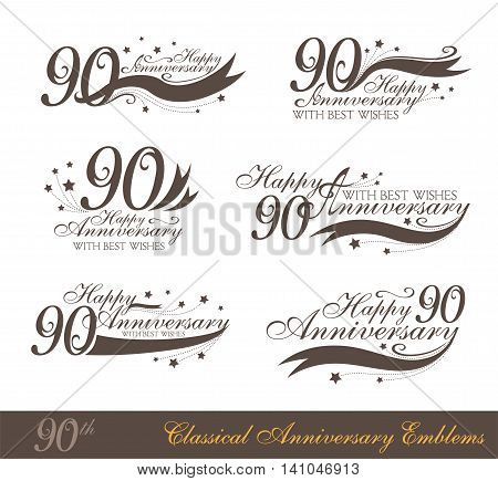 Anniversary 90th sign collection in classic style. Template of anniversary birthday and jubilee emblems with number editable and copy space on the ribbons.