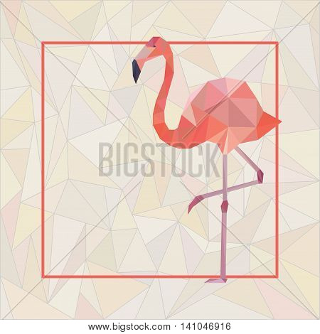 Greeting card template with pink polygonal flamingo.