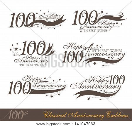 Anniversary 100th sign collection in classic style. Template of anniversary birthday and jubilee emblems with number editable and copy space on the ribbons.